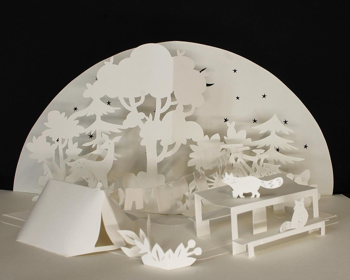 3d paper art Advertising  Nature paper art paper engineering Paper scenery papercut pop-up Scherenschnitt woodlands