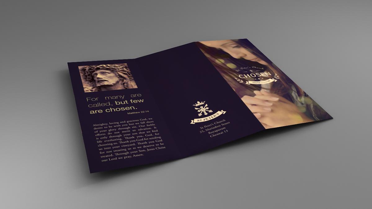 church chosen Youth group Catholic brochure 3 fold brochure mock up