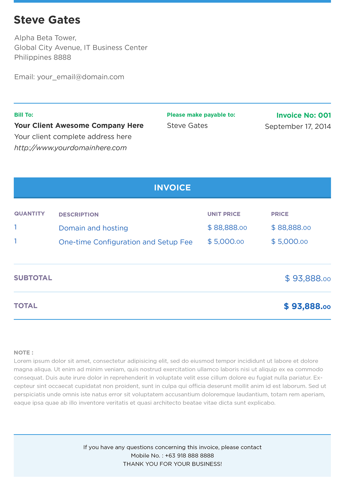 free psd clean and modern invoice template