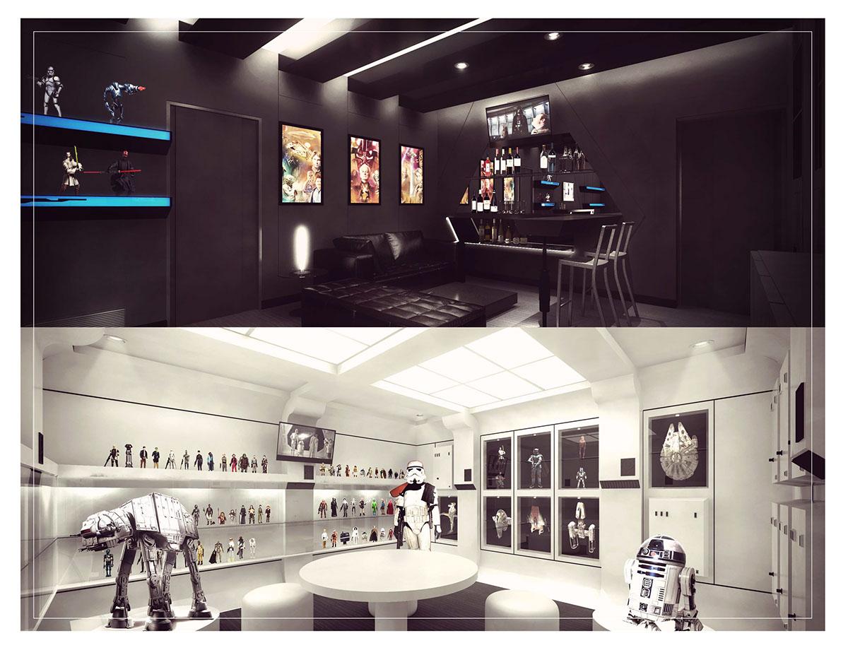 star wars Interiorismo Office gallery galeria oficina Diseño temático diseño design