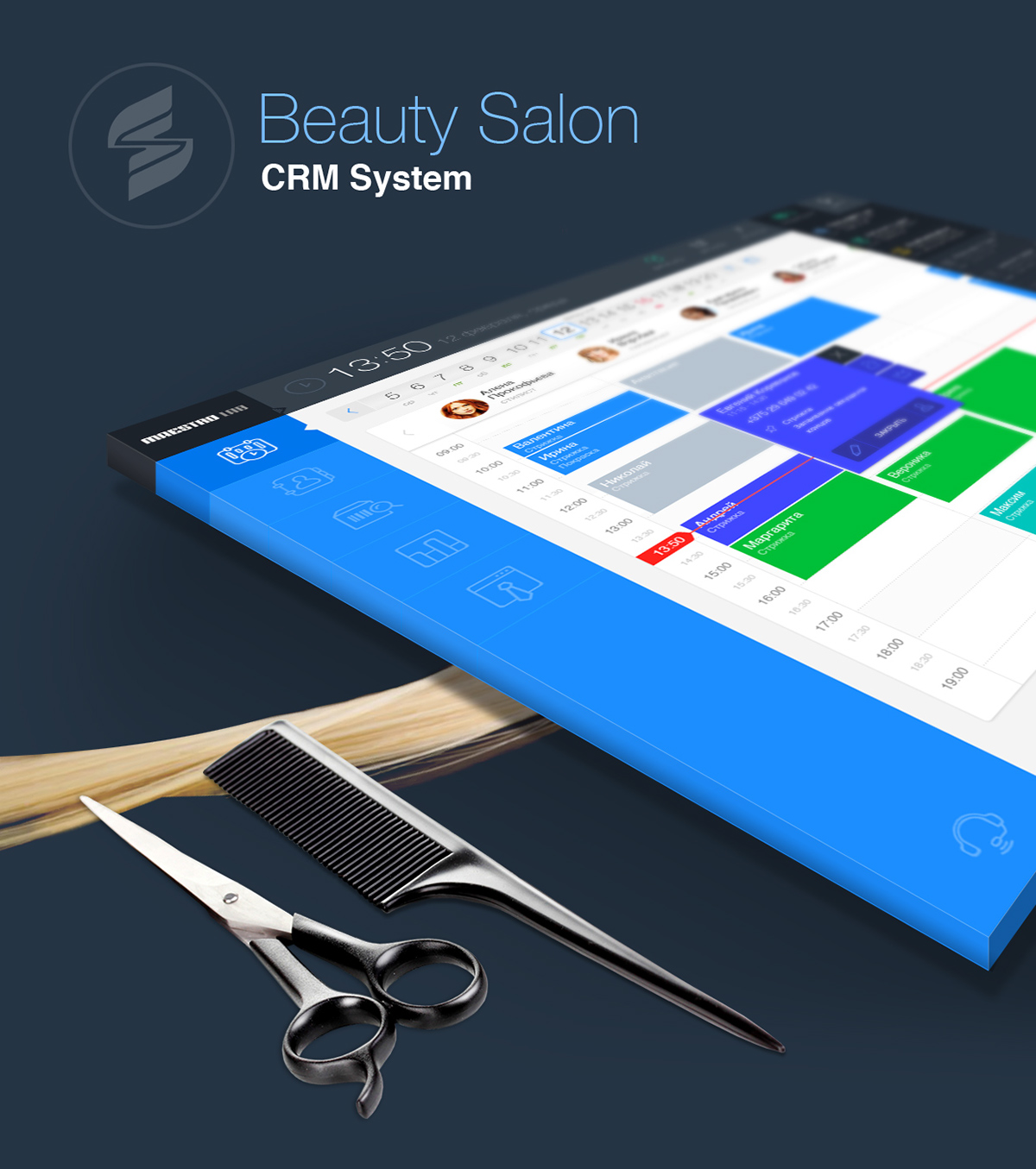 beauty salon crm system on behance