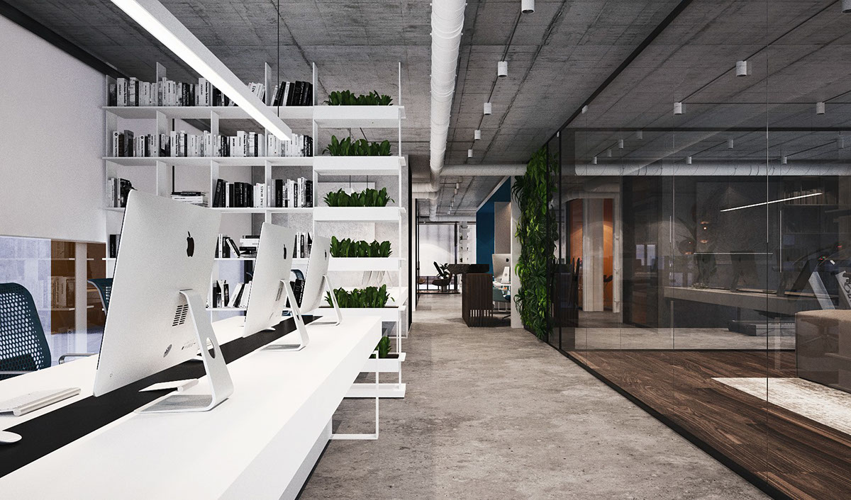 Office interior design on behance - Industrial style buro ...