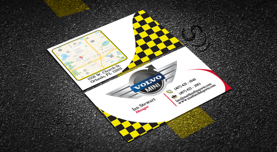 Maitland imports business card on behance back of business card with area map includes bleed and cut marks for print production for client maitland volvomini imports of orlando colourmoves