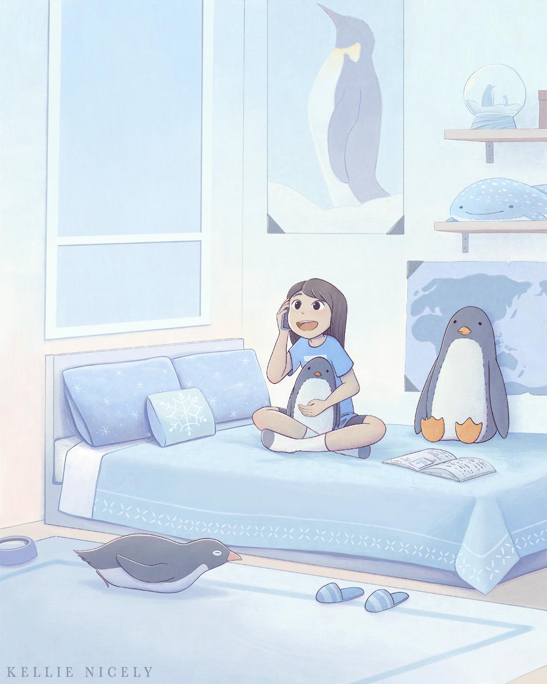 Image may contain: cartoon, bed and drawing