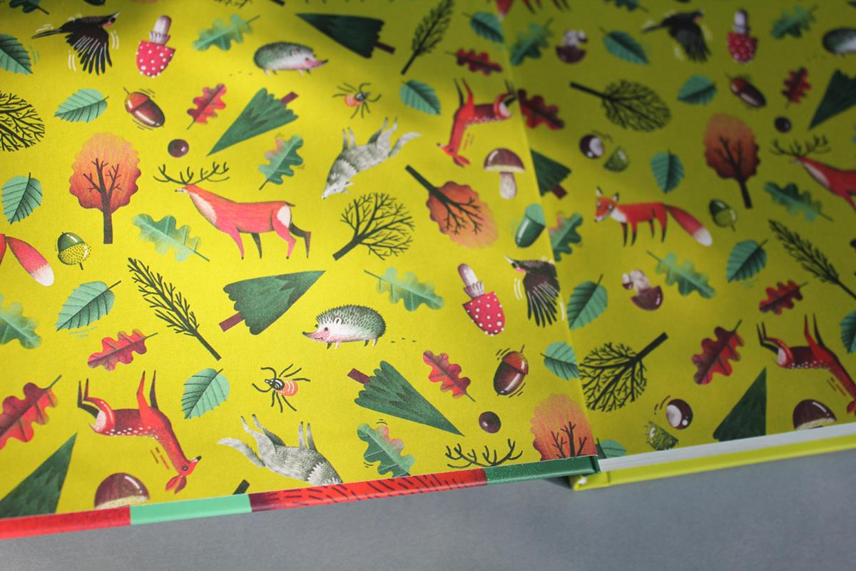 forest las ILLUSTRATION  book children trees animals wild animals book design wood