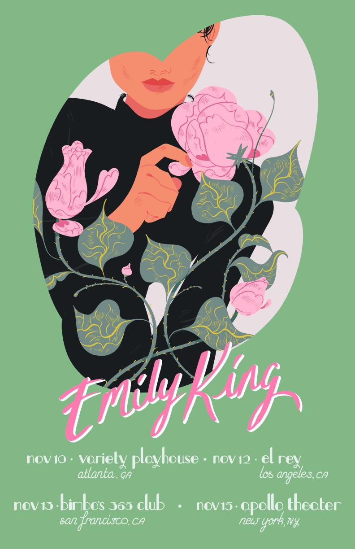 emily king ILLUSTRATION  Editorial Illustration editorial gig poster Tour Poster Handlettering HAND LETTERING lifestyle illustration