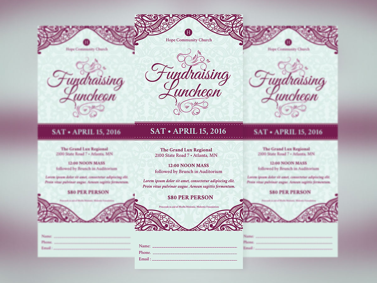 Fundraising Luncheon Ticket Template on Behance – Lunch Flyer Template