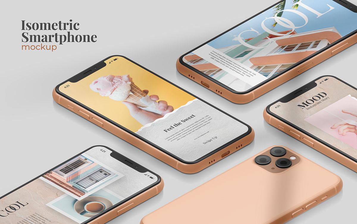 apple free mockup  instagram mockup iphone11 Isometric Mockup mockup creator smartphone mockup UI ux
