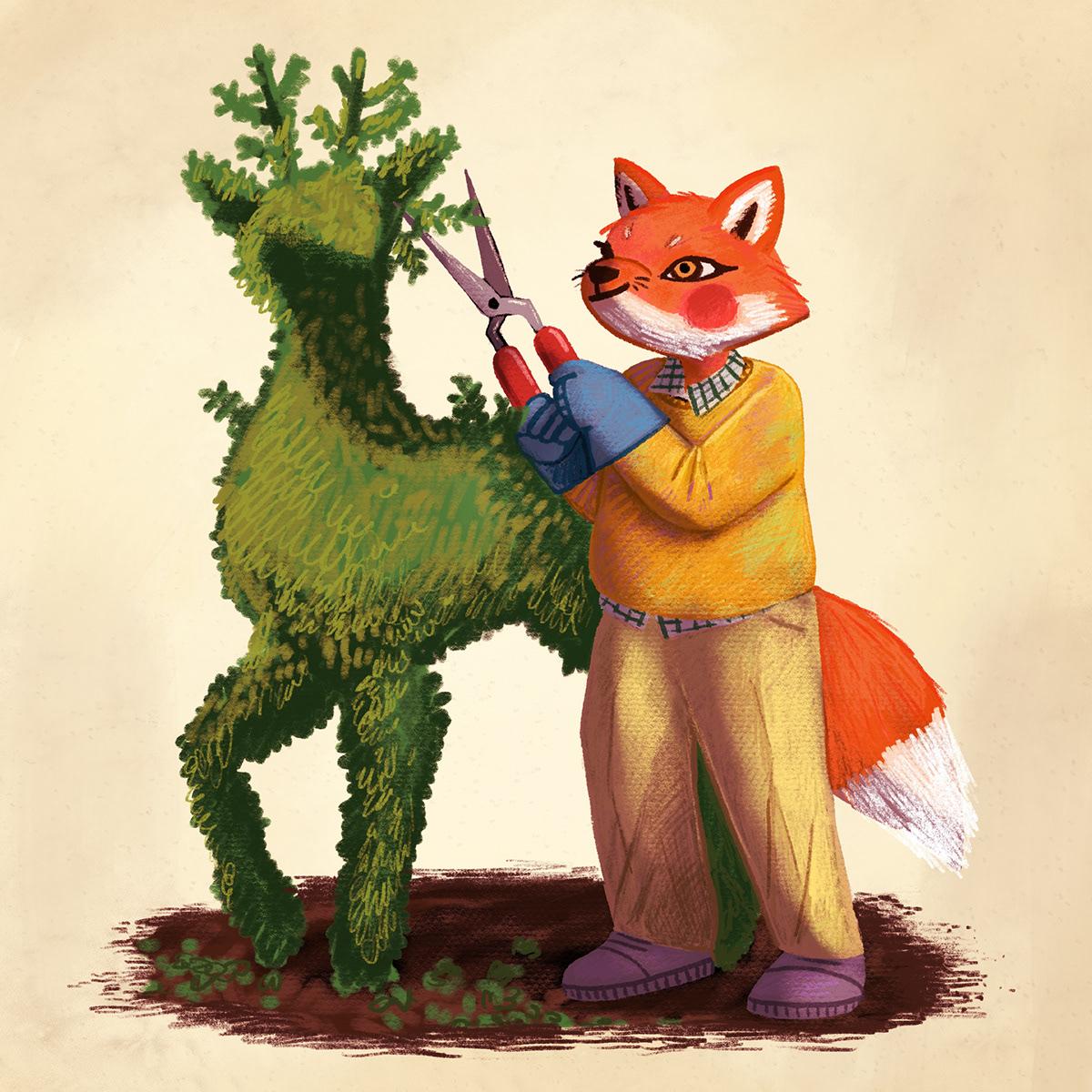 FOX gardening kidlit shrub topiary