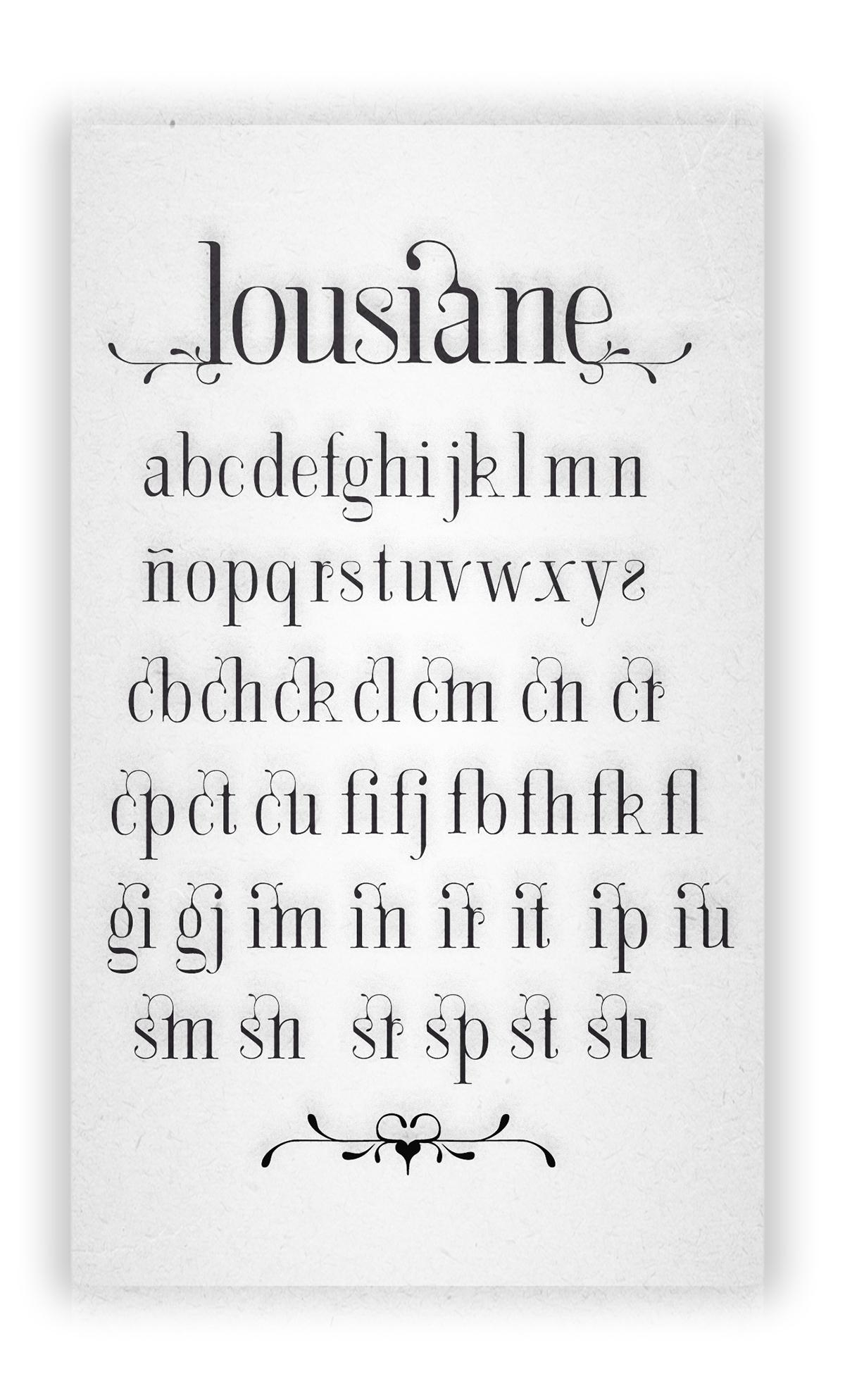lousiane tipo letras art nouveau especimen decorativo florones Free font free font type