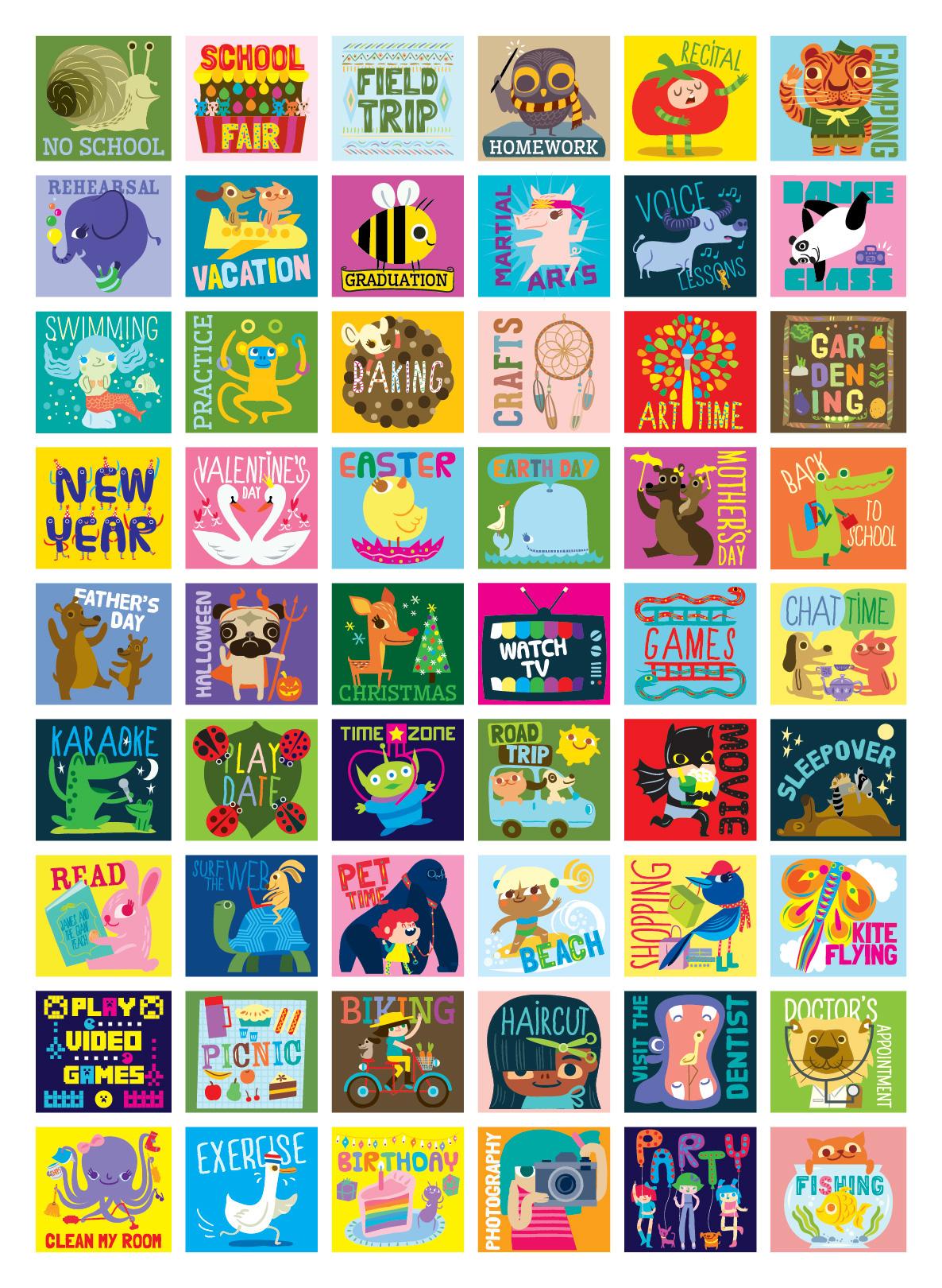 stickers ILLUSTRATION  activities calendar