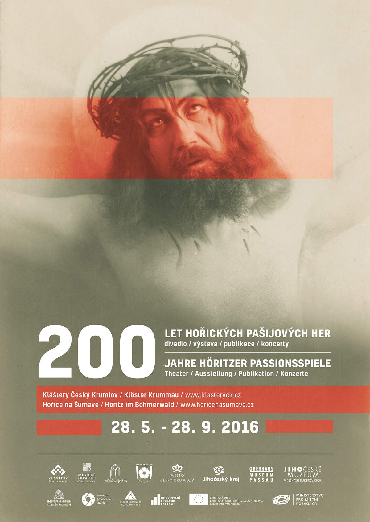Passion Play theater  old photography red grey SOUTH BOHEMIA Hořice na Šumavě Exhibition  jesus