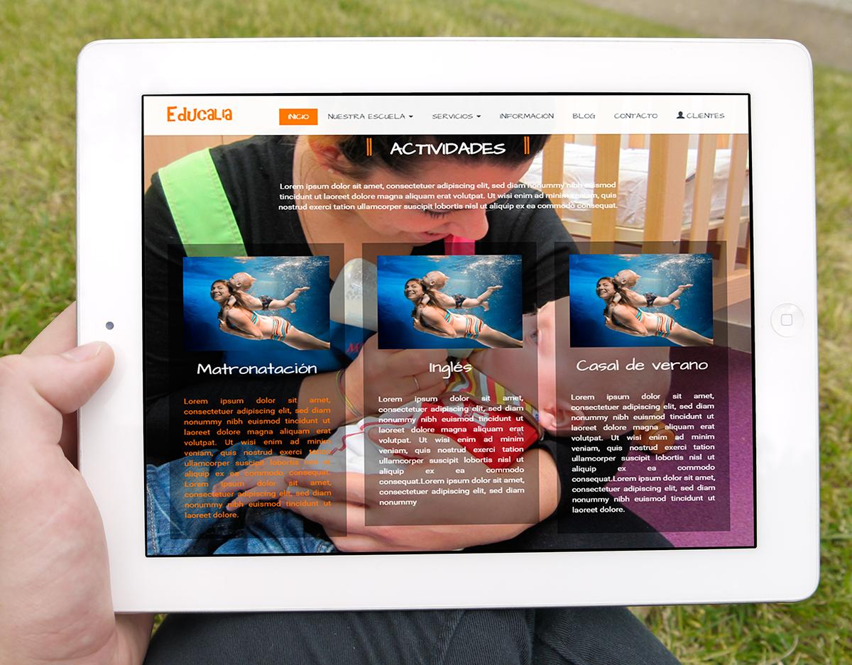 página de Educalia, escola bressol en una tablet