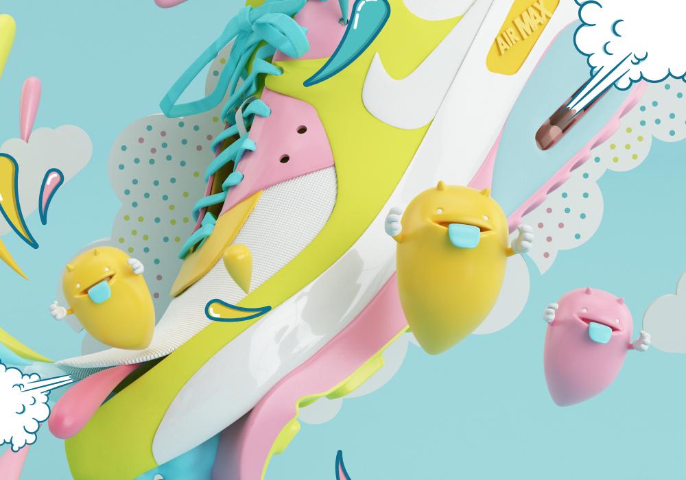 Nike airmax Render 3D shoe monster Monstruo