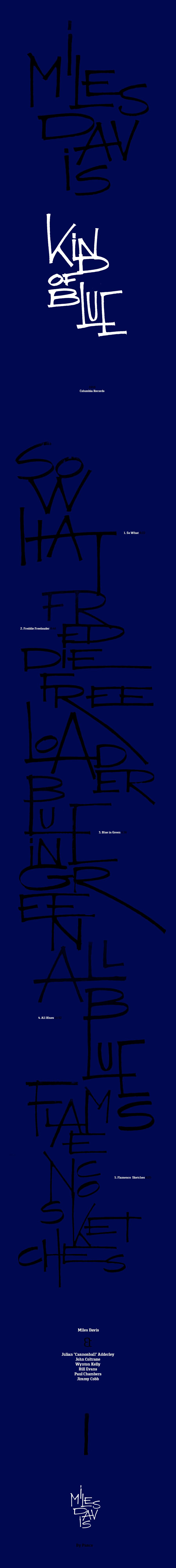 miles lettering blue blues minimal davis jazz kind of blue experimental