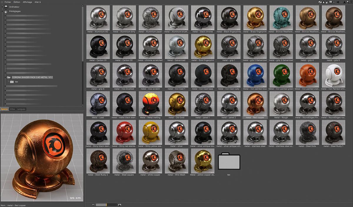 Corona shaders pack library corona shader Corona material library cinema 4d