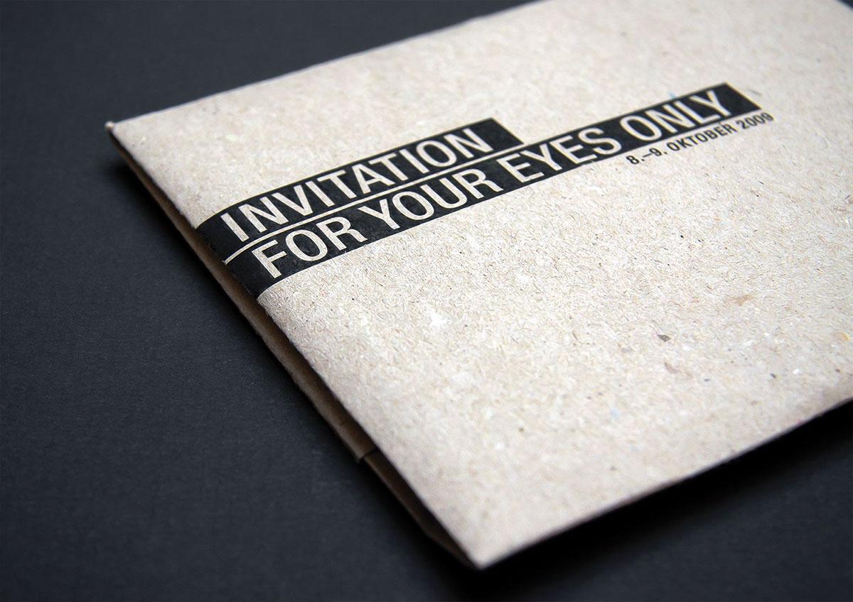 For your eyes only ARE WE DESIGNER cologne german trend book design humor Sascha van den Bloock Daniela Kempkes Invitation hand made stationary Event