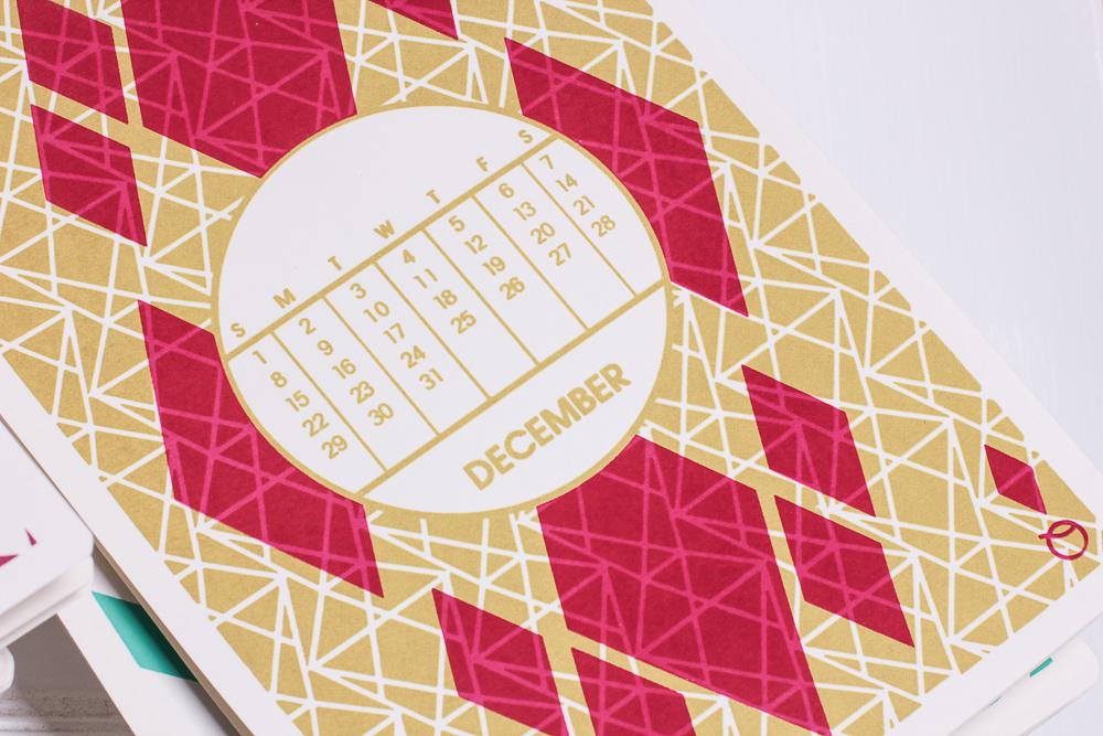 screen printed handprinted handmade Playing Cards calendar print pattern art deco