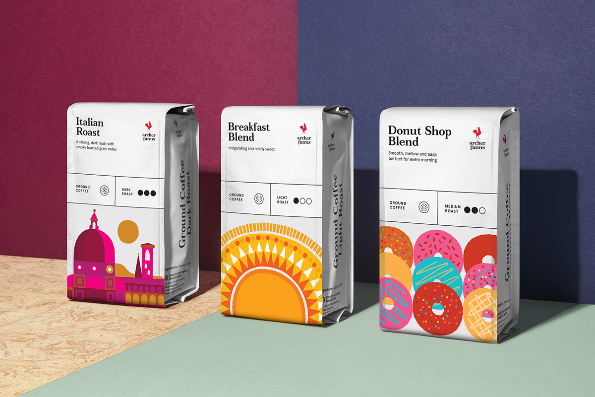 Packaging ILLUSTRATION  Coffee graphic design  collins target bags boxes art direction  system