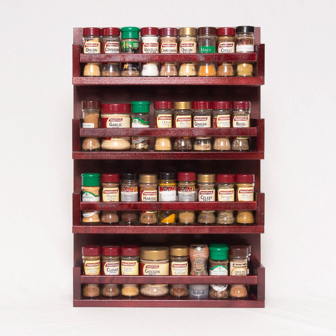 The solid wooden spice rack can be placed freestanding on a kitchen benchtop or it can be wall mounted with 2 concealed metal keyhole plates fitted to the