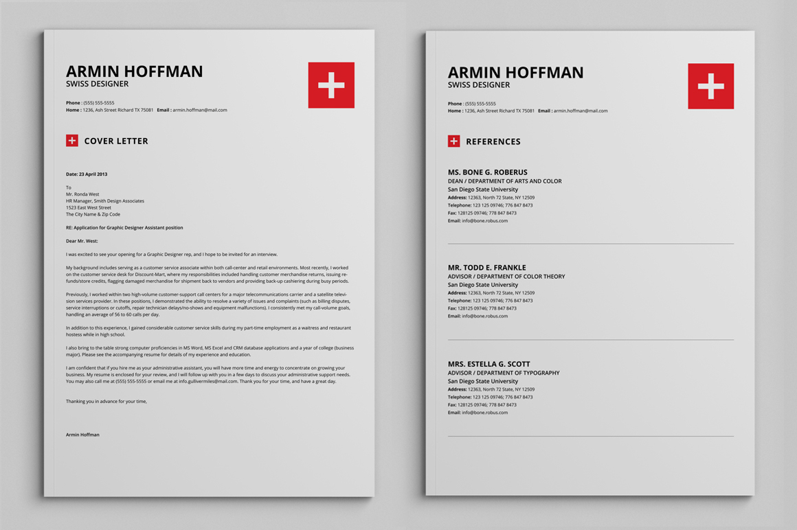 2 Pages Swiss Resume   Extended Pack on Behance