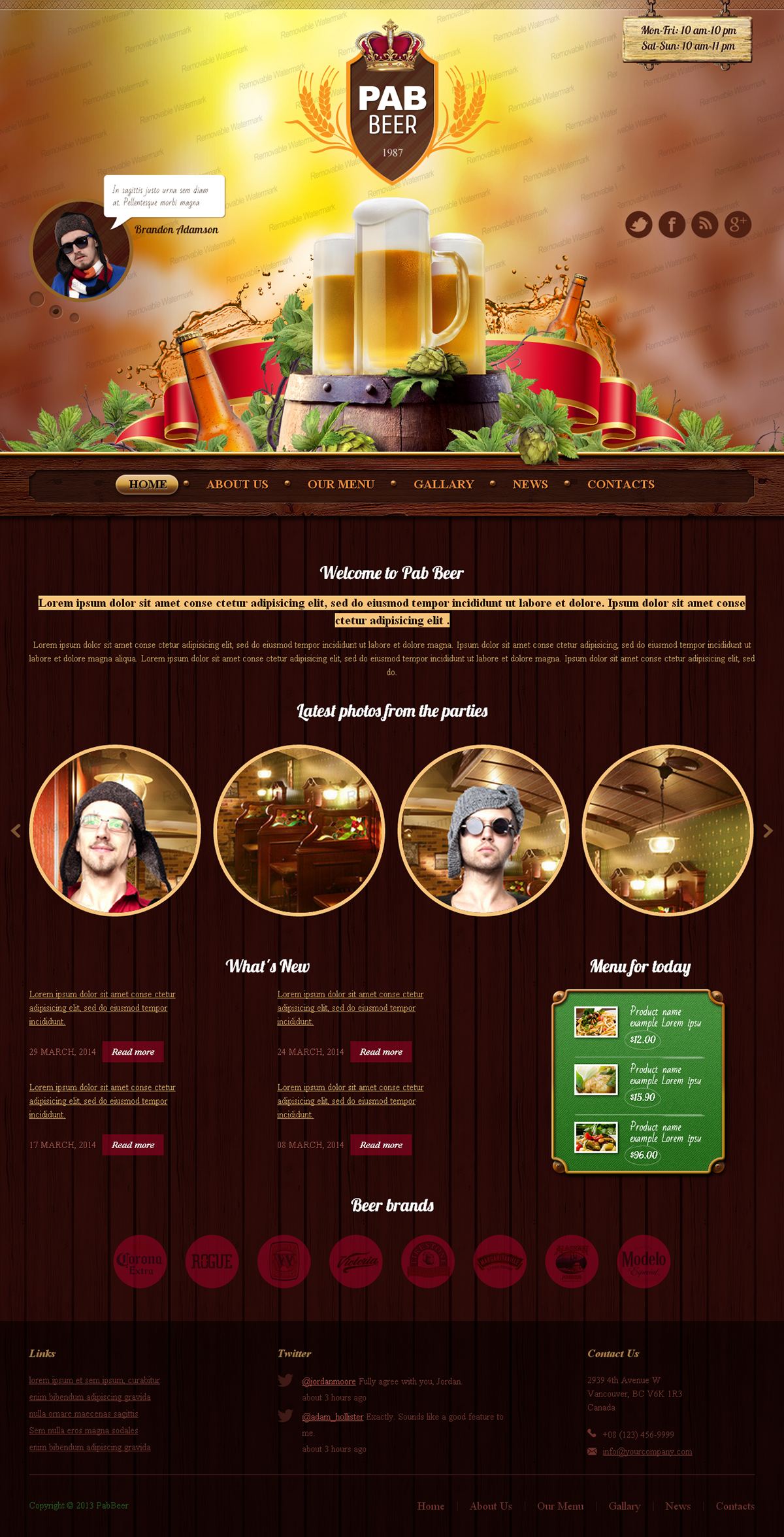 Beer Pub Twitter Bootstrap HTML Template on Behance