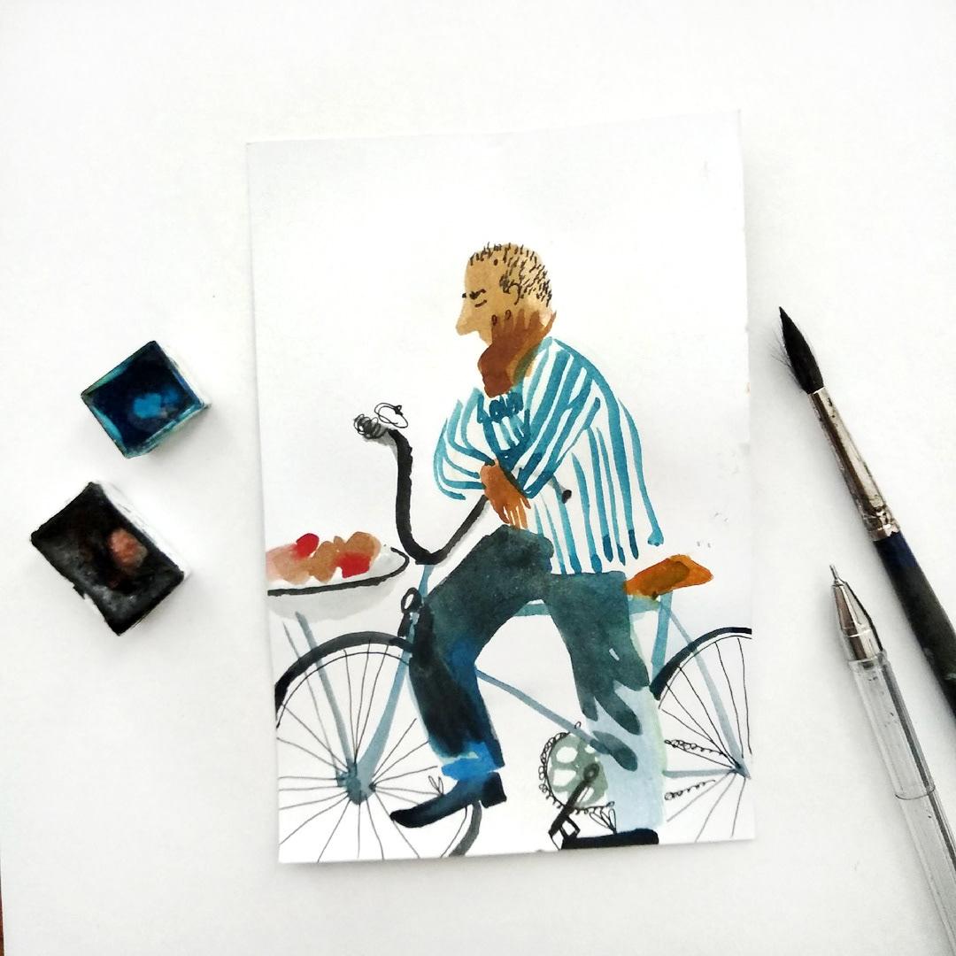 Изображение может содержать: велосипед, рисунок и велосипедное колесо.