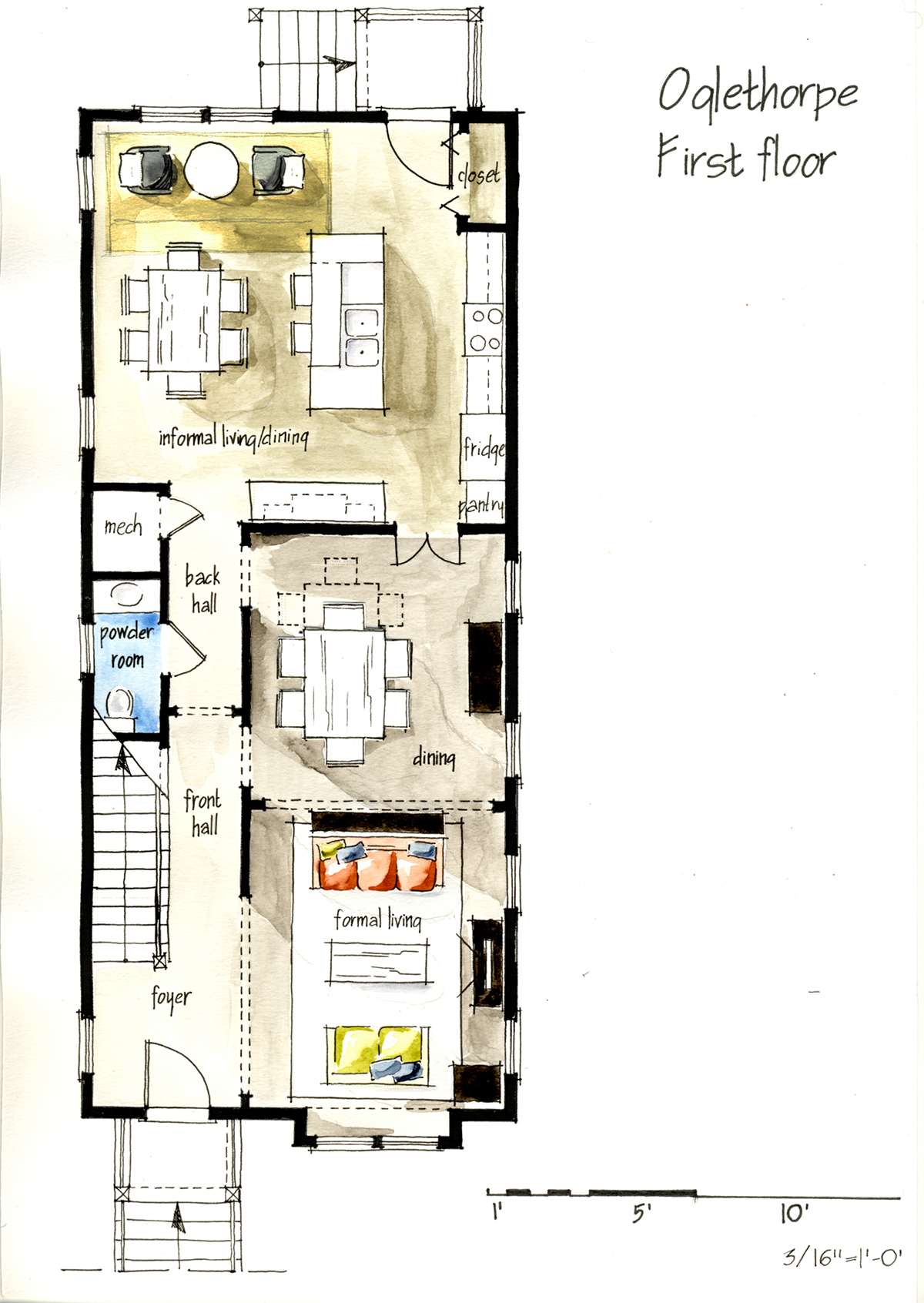 Real estate watercolor 2d floor plans part 1 on behance for Horizontal house plans