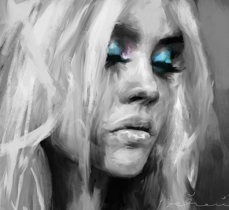 portrait painting   ILLUSTRATION  black and white study contemporary digital painting digital illustration portrait illustration sketch