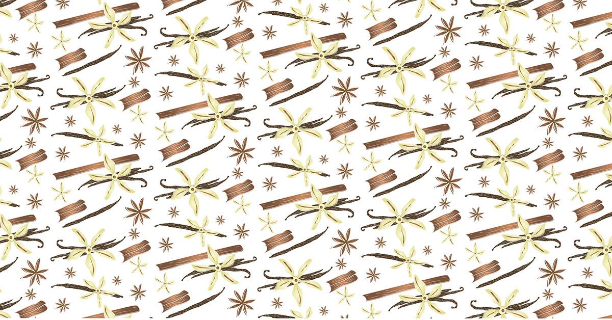 ilustracion Flores natural vainilla canela etiqueta