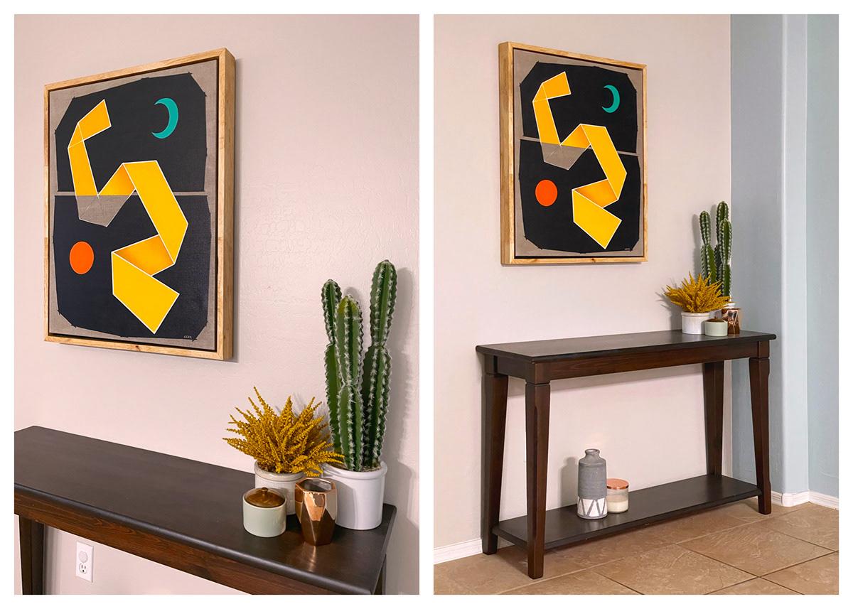 abstract linen midcentury minimalist modern oil painting   teal yellow red orange