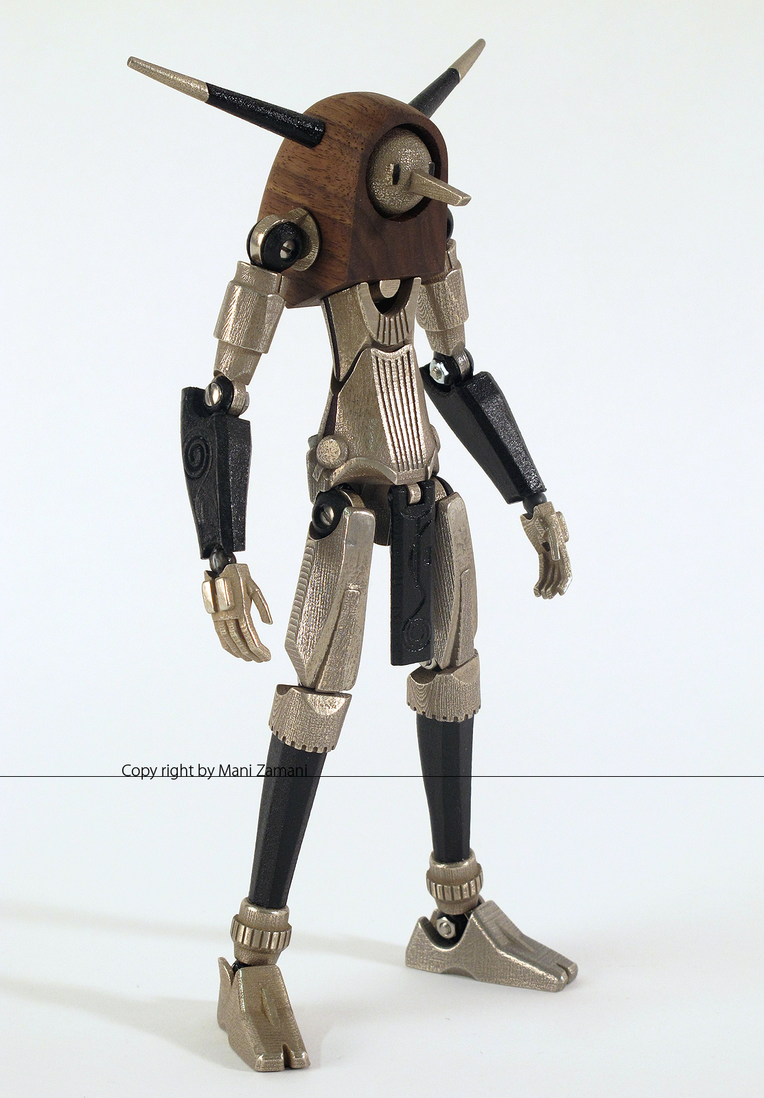 Mani Zamani,poseable action figure,3d printed stainless steal,robot toy,Craftmanship