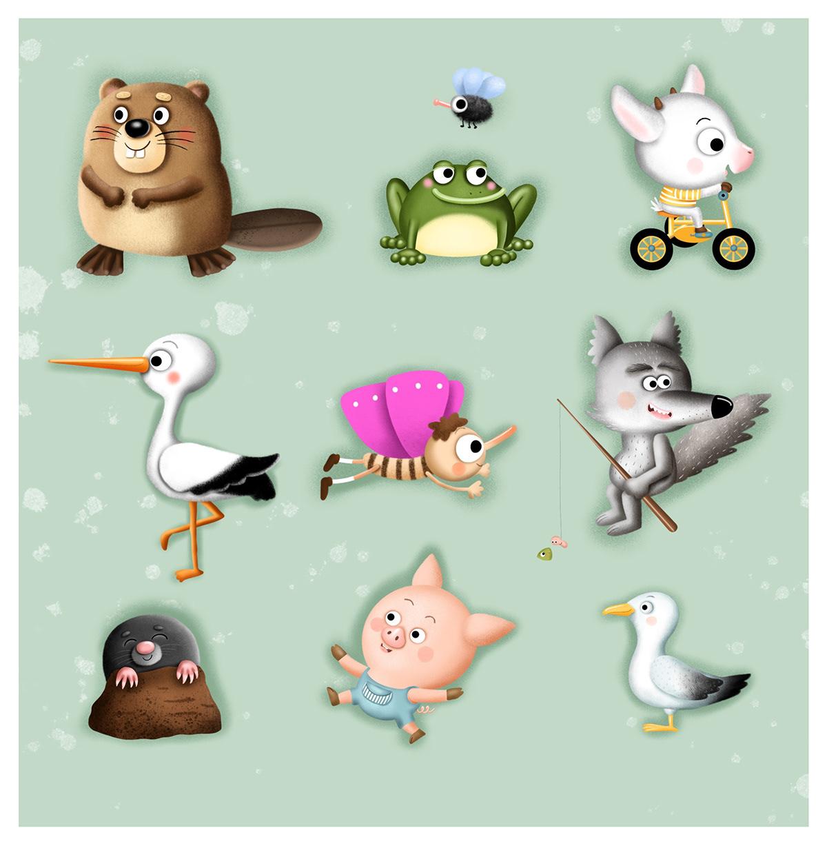 animals beaver childrens illustration frog Mole pig seagull wolf