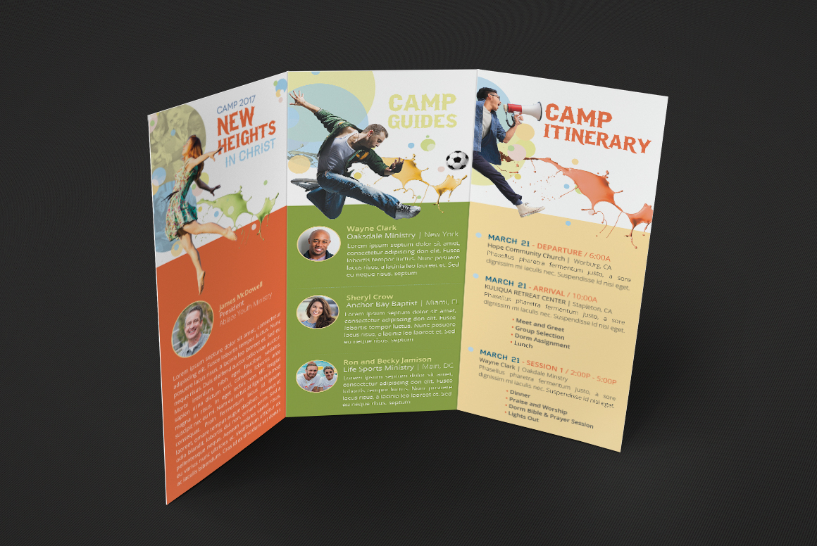 youth camp tri fold brochure template on behance