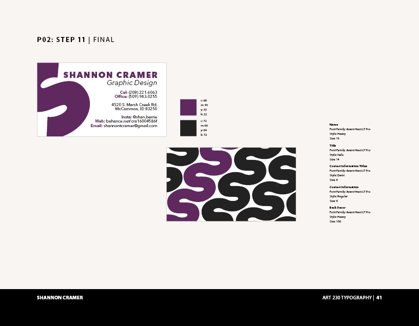Art 230 Typography: Business Cards on Behance