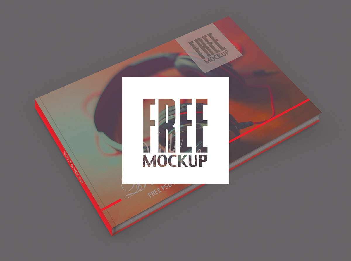 free Mockup free download psd wide brochure cover red photoshop colors creative Perfect Binding binding brochure offset Printing