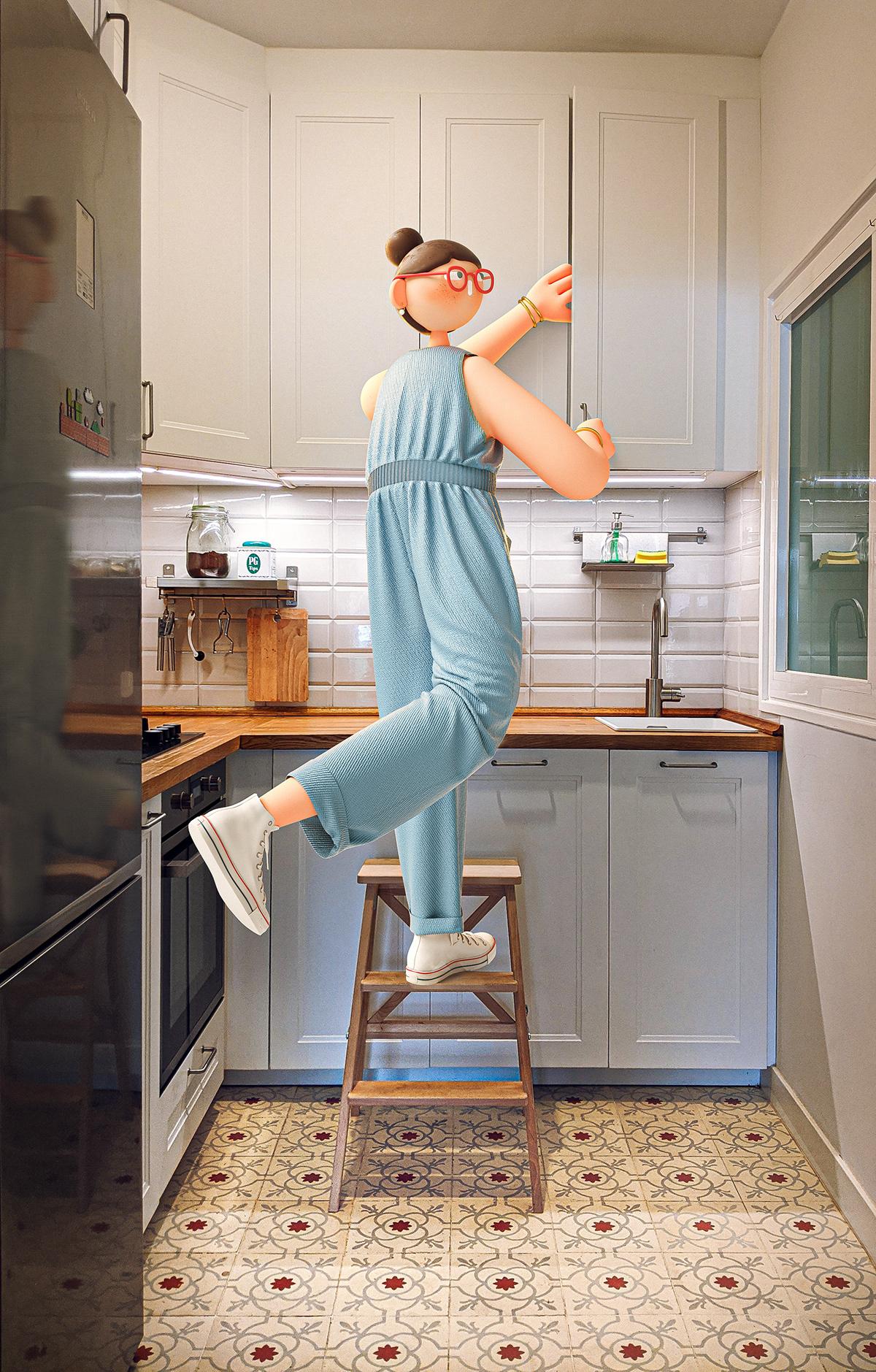 3D casa CGI Character design home ILLUSTRATION  Photography