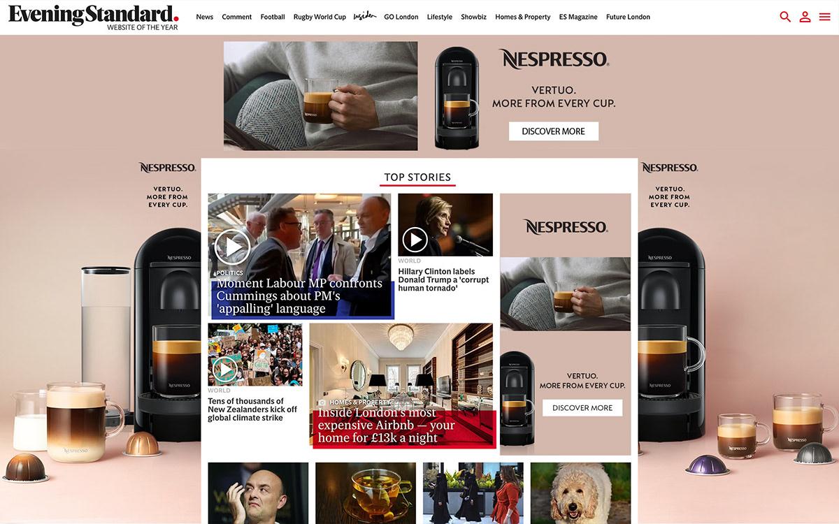 ad Home page take over hpto Nespresso nestle