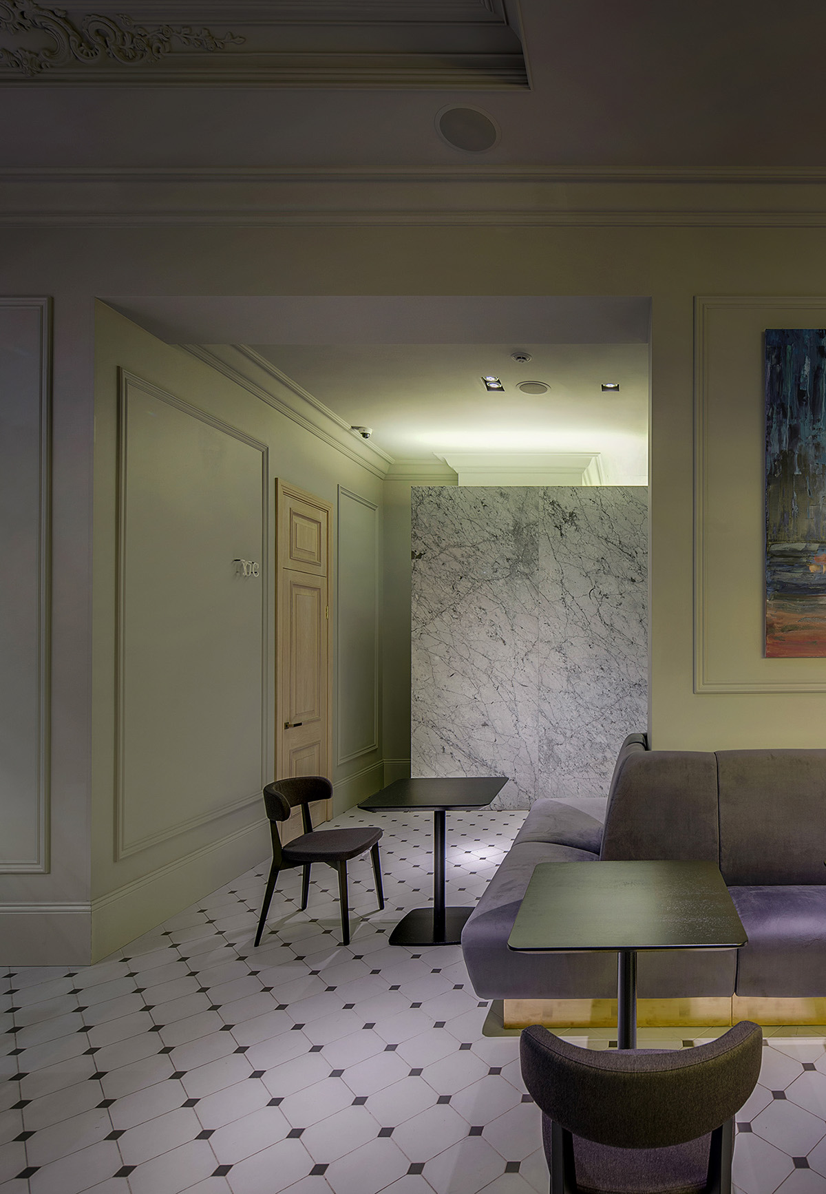 ... Regular Seating Zone And Lounge Seating For Company At The Round Table,  Area Of Bar And Semi Bar Seating. Marble Bar Counter Is Emphasized By  Sculptural ...