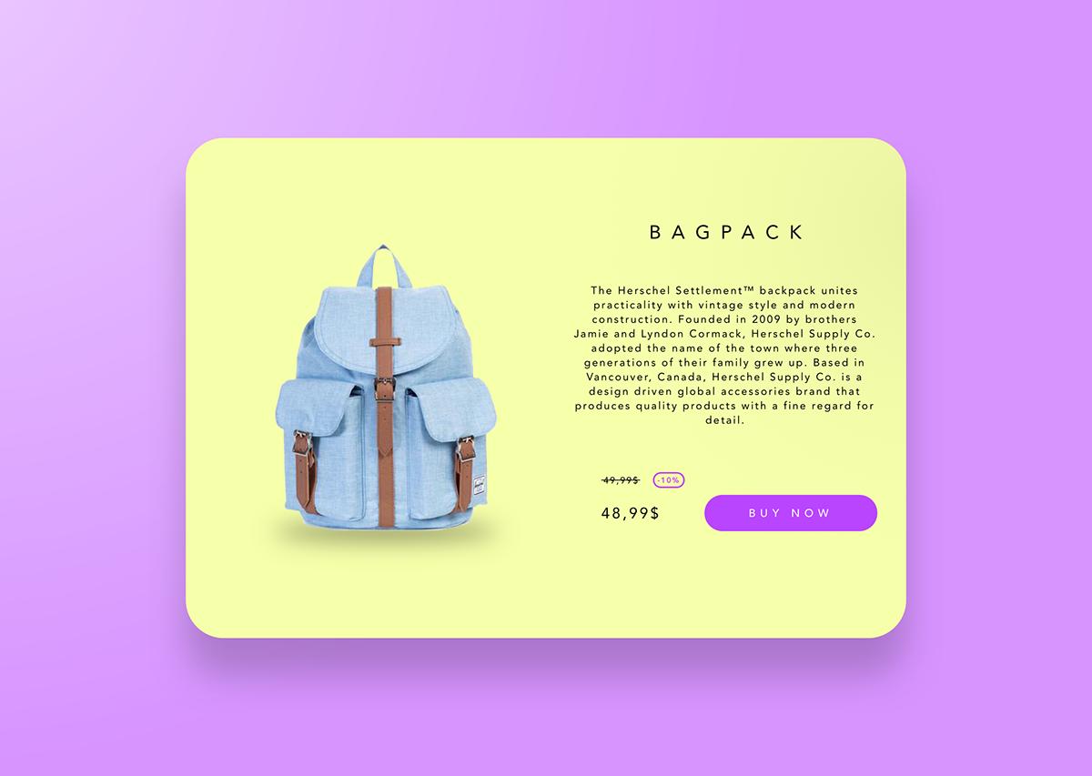 bag Ecommerce Interface design UI ux user Experience Web Webdesign