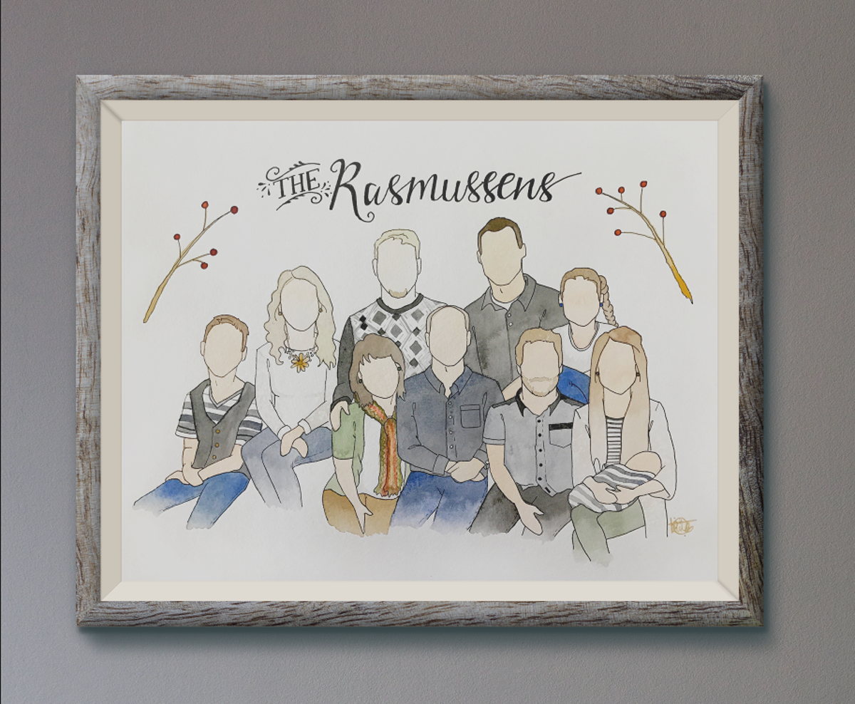 family ILLUSTRATION  watercolor portrait Hand-lettered hand-drawn face