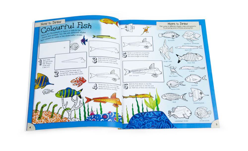 Interior page from childrens book How to Draw Animals illustrated by Fiona Gowen. Featuring a large selection of exotic fish.