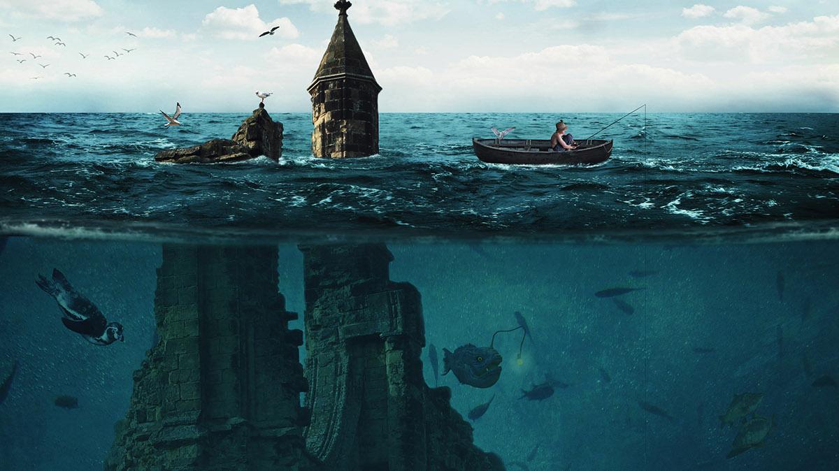 photomanipulation underwater city surreal fnatasy conceptual water fish girl Castle digital