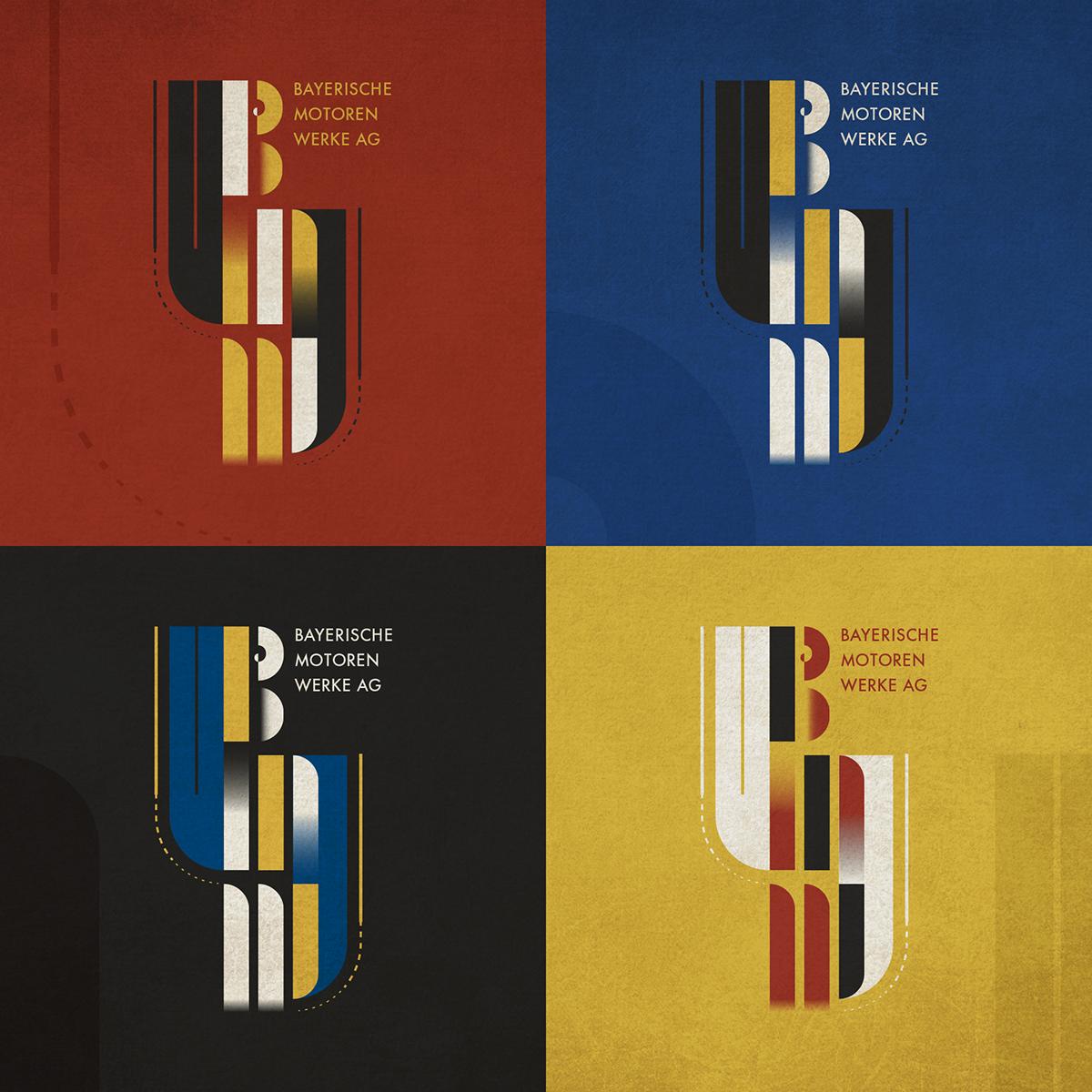 BMW - BAUHAUS Style Logo on Pantone Canvas Gallery
