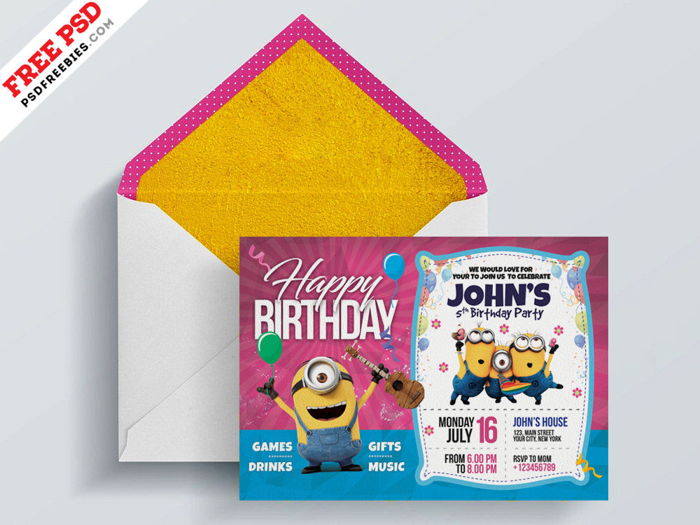 Download Free Kids Birthday Invitation Card PSD This Is Great For Event Party And Any Children Related