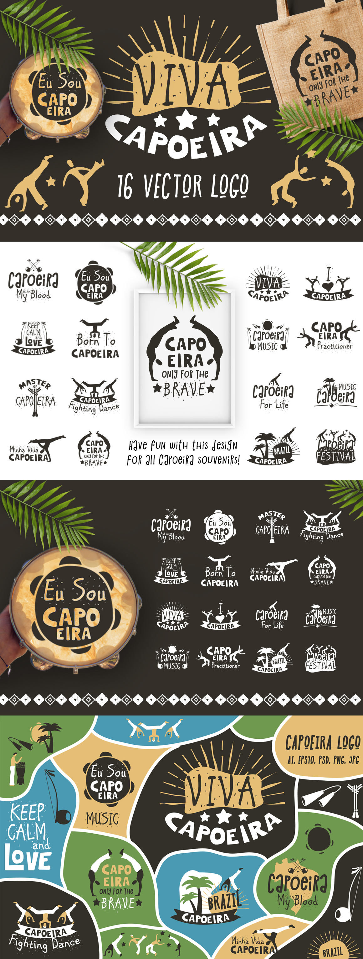 Vector logo for the capoeira souvenirs and gifts. You can use this logo for prints on t-shirts, apparel design and other. Also you will get Bonus - Capoeira ...