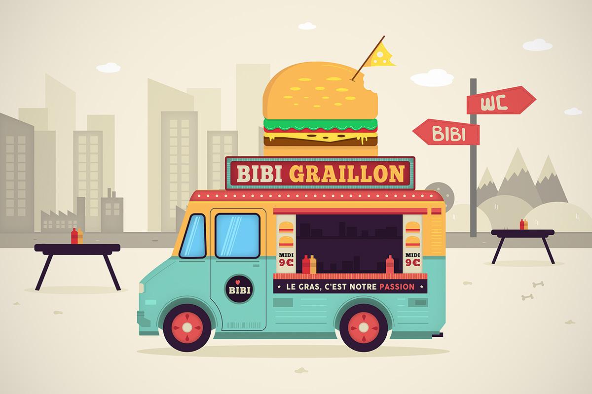 Food truck vector illustration motion design on behance for Food truck design app