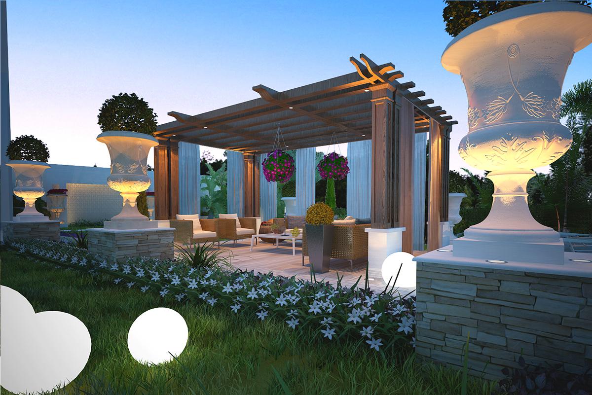 Private villa landscape, Doha, Qatar on Behance