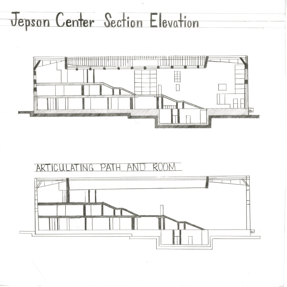 Relationship Of Elevation To Plan : Jepson center for the arts section elevation on behance
