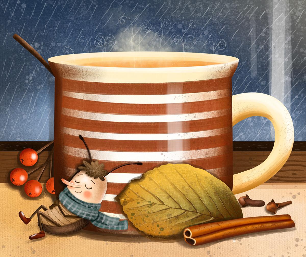 animals children childrens book childrensillustrations Christmas insect Nature snow tea autumn